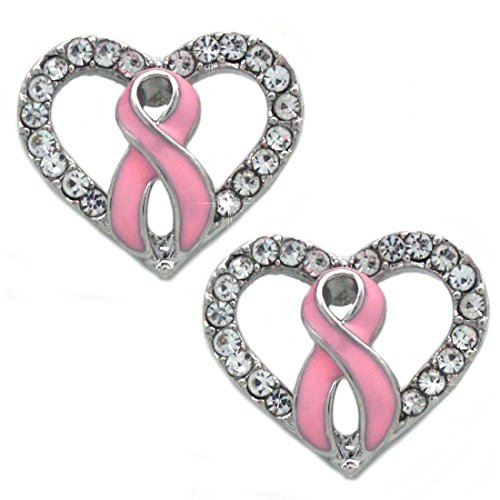 Support Breast Cancer Awareness Pink Ribbon Boxing Glove Heart Earrings (Heart Stud)