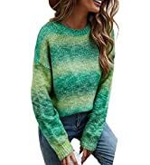 ECOWISH Women Valentine Heart Sweater V Neck Embroidery Knit Loose Casual Long Sleeve Ribbed Pull...