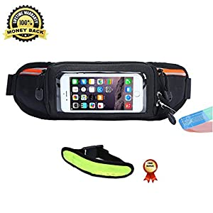 Mira-Tech Hydration Running Belt With Water Bottles:#1 Best Recommended Running Fuel Belt For Men&Women Perfect for Marathons,Hiking-Fits iPhones6/6S Plus&Free LED Safety Armband (No Bottles-Orange)