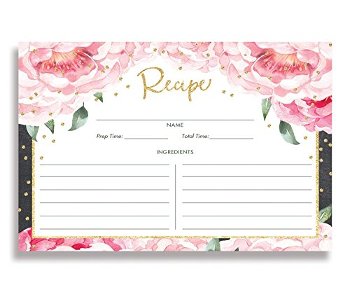 Pink Peony Recipe Cards (Set of 15) 4x6 inches. Double Sided Pink Peonies & Blush Pink Thick Card Stock Floral Recipe Cards | Jenn Chalkboard ()