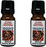 Set of 2 - Concentrated Fragrance Oil - Indian Sandalwood: A warm, sweet, rich woodsy fragrance. Made w/ essential oils.(.33 fl.oz.)