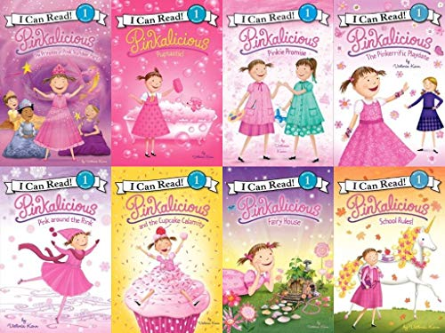 Pinkalicious I Can Read Series (Set of 8) Pink around the Rink; School, Pinkie Promise, Pinkerrific Playdate, Princess of Pink Slumber Party, Fairy House, Cupcake Calamity, Puptastic