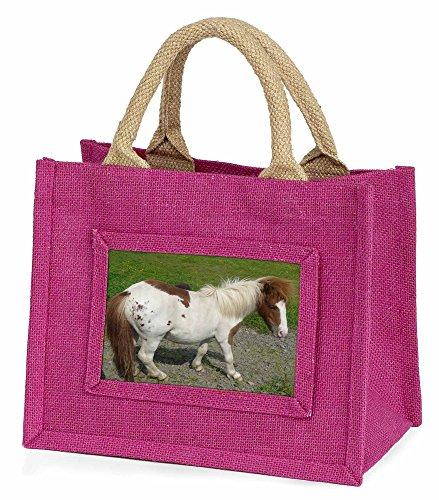 Advanta–Mini Pink Jute Tasche Shetland Pony Little Mädchen klein Einkaufstasche Weihnachten Geschenk, Jute, pink, 25,5x 21x 2cm