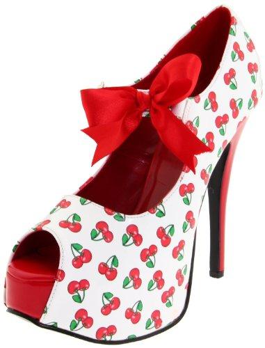 Pin Up Couture TEEZE-25-3 Wht-Red Pat (Cherries Print) UK 5 (EU 38 )