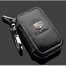 Cadillac Black Premium Leather Car Key Chain Coin Holder Zipper Case Remote Wallet Bag