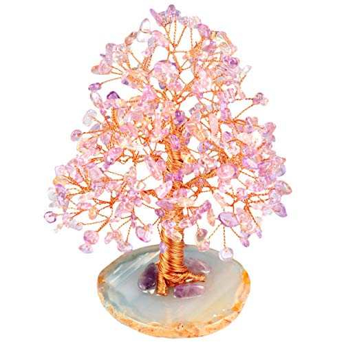 rockcloud Natural Amethyst & Citrine Crystal Tree Stones Chips Money Tree with Agate Slice Base Home Decoration for Wealth and Luck, 5-6 inches