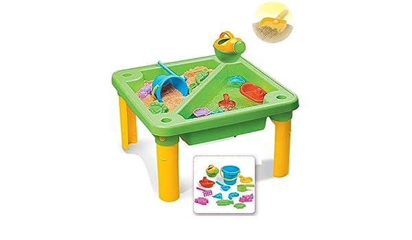 Niños Aprendizaje temprano Arena y agua Mesa de playa Set de juguetes de playa Juego de castillo de construcción de castillos Set de cubo de playa con moldes Cuchillas de cubo Rastros