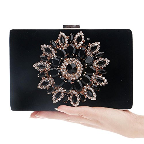 Bag Bags Black Evening with Satin Party for Handbag Wedding Clutch Evening Women Crystal Beading Event Rhinestone KYS wq5TIgFF