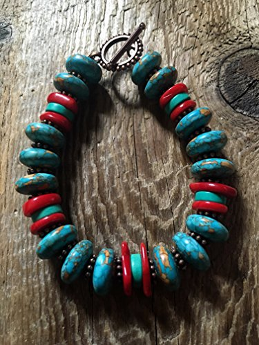 Turquoise Bracelet/10 Turquiose Saucer Beads and Red Coral Chips, Copper Spacers and a Dotted Copper Toggle