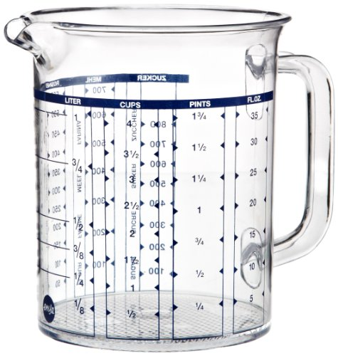 EMSA 2217100000 Superline Measuring jug, 1.0 Litre, Transparent/Blue