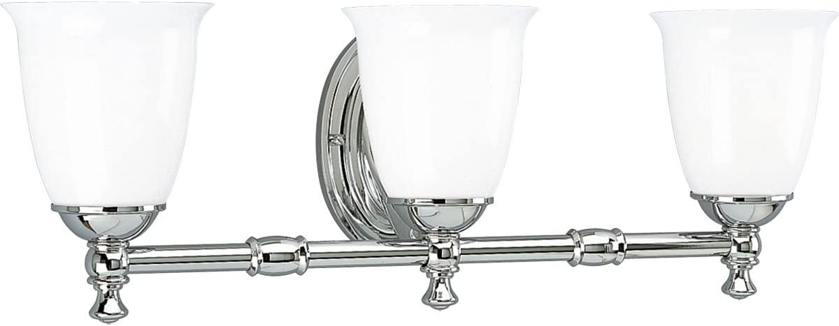 Progress Lighting P3029-09 3 Light Bath Bracket with White Opal Glass Brushed Nickel