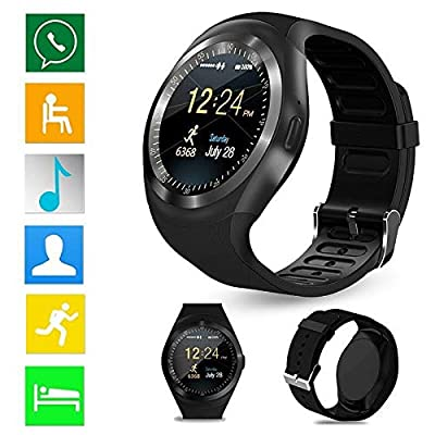 Bluetooth Smart Watch Touchscreen Sport Smartwatch Fitness Tracker Pedometer SIM TF Card Slot Compatible for Android and iOS Smartphone