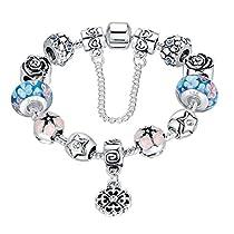 Wowl 925 Plaqué Argent Charm Bracelets avec Chain Love Connection de sécurité