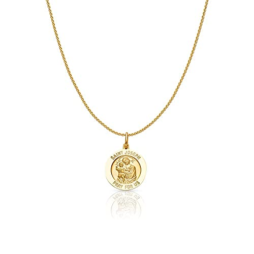 14K Yellow Gold St Joseph Pray For Us Religious Charm Pendant For Necklace or Chain