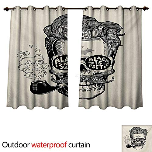 WilliamsDecor Indie Outdoor Curtain for Patio Hipster Gentleman Skull with Mustache Pipe and Eyeglasses with Inscription Vintage W96 x L72(245cm x 183cm)