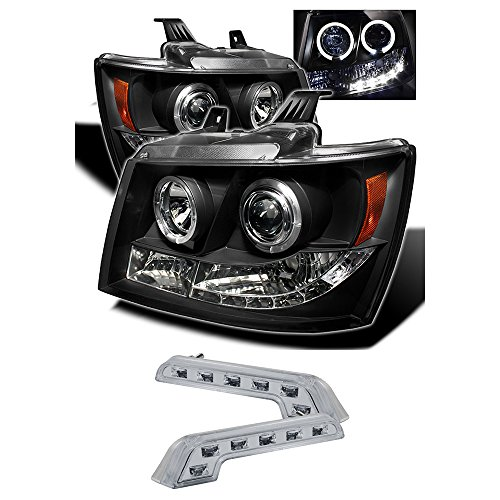 2007-2011 CHEVY TAHOE DUAL HALO PROJECTOR HEADLIGHTS + 8 LED FOG BUMPER LAMPS