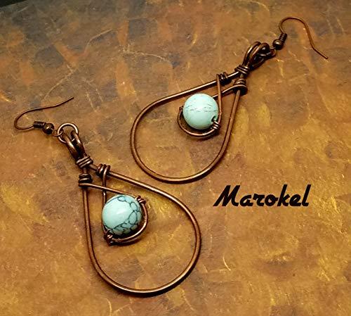 Turquoise Earrings Copper Wire Teardrop