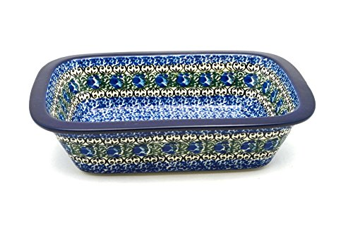 Polish Pottery Baker - Rectangular with Grip Lip - Peacock Feather