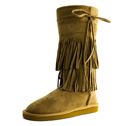 Link Womens Mid Calf 13 Inch 2 Layer Frindge Faux Suede Boots (Adults) Tan