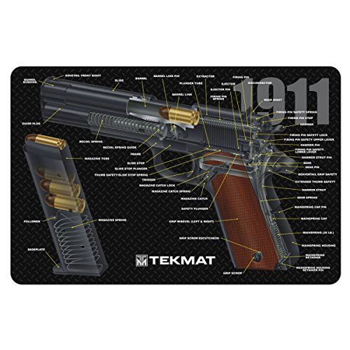 TekMat 1911 Cleaning Mat / 11 x 17 Thick, Durable, Waterproof / Handgun Cleaning Mat Cutaway Design with Parts Diagram and Instructions / Armorers Bench Mat / Black (Gun Mat 1911)