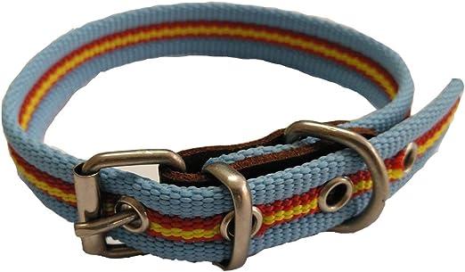 Global Collar de Perro Bandera de España Color Celeste | Collar de Perro de algodón | Collar 35 cms: Amazon.es: Productos para mascotas