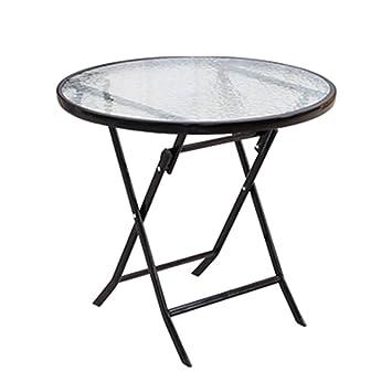 JU FU Petite table pliante blanche - table à manger en verre ...