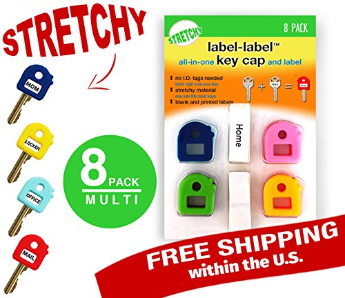 Key Caps Tags - Stretchy All-in-One Key Cover & Tags - ONE SIZE FITS MOST KEYS - 8 Pack Multicolor - Includes Blank Labels and Printed Labels - Key Covers, N (Call For Service Labels compare prices)