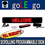 goLEDgo Ultra Red Programmable Scrolling LED Message Marquee Sign (Size: 4''H x 26''L x 1''D)
