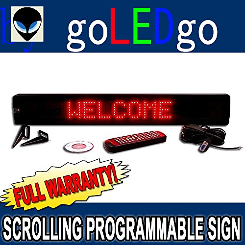 goLEDgo Ultra Red Programmable Scrolling LED Message Marquee Sign (Size: 4