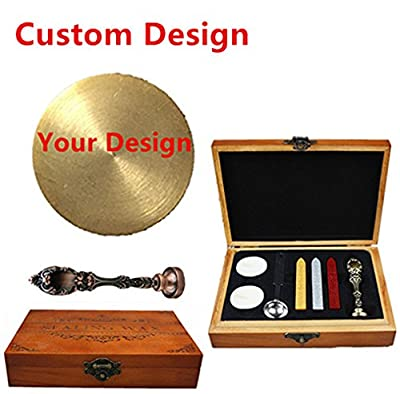 MNYR Bronze Customized Picture Logo Monogram Letters Personalized Your design Wax Seal Sealing Stamp Wedding Invitation Metal Wax Sticks Candles Melting Spoon Wood Gift Box Set