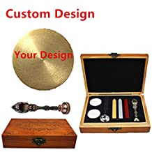 MNYR Red Brass Customized Picture Logo Monogram Letters Personalized Your design Wax Seal Sealing Stamp Wedding Invitation Metal Wax Sticks Candles Melting Spoon Wood Gift Box Set