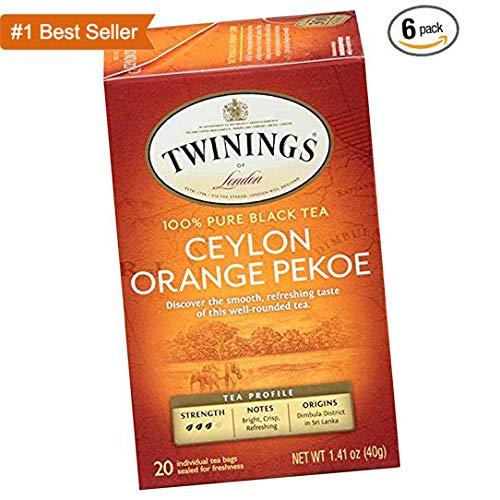 Twinings of London Ceylon Orange Pekoe Tea Bags, 20 Count (Pack of 6) 4 Pack by Twini