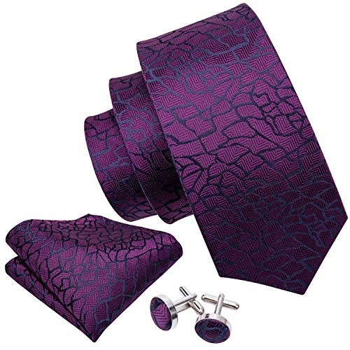 (Barry.Wang Dark Purple Ties Silk Set Hanky Cufflinks)