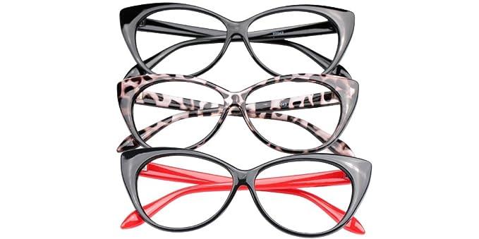 8128e281b97 SOOLALA 3-Pair Value Pack Fashion Designer Cat Eye Reading Glasses for  Womens (3
