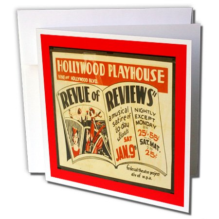 3dRose WPA Hollywood Playhouse Art Deco Poster - Greeting Cards, 6 x 6 inches, set of 12 (gc_109082_2)