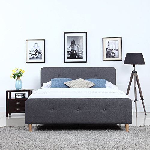 DIVANO ROMA FURNITURE Mid Century Modern Linen Fabric Low Profile Bed Frame (Queen, Dark Grey)