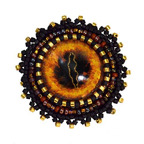Fire Ring Dragon Fantasy Evil Eye Brooch Gothic