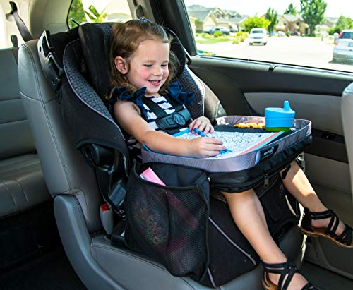 Kids E-Z Travel Lap Desk Tray by Modfamily-Universal Fit for Car Seat, Stroller & Airplane - Organized Access to Drawing, Snacks, and Activities. Includes Bonus Printable Travel Games - - Lap Travel Desk