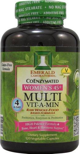 45+ multi Vit-A-Min Raw aliments entiers Formule Basé des femmes - - Emerald Labs 120 Vegetarian Capsules