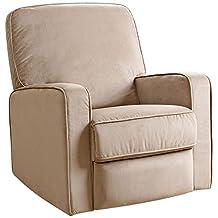 Abbyson Living Ravenna Fabric Swivel Glider Recliner Chair in Beige