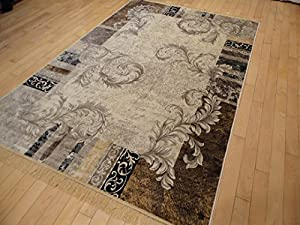 Silk modern area rug ivory rugs contemporary for Dining room rugs 5x7