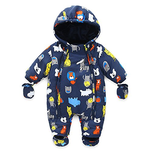 ZOFZ Infant Newborn Baby Hoodie Down Jacket Jumpsuit Pram Snuggly Snow Suit For 2 Years (24M)