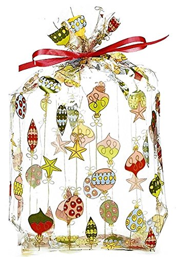 BnB Treat Bags Merry Christmas Ornaments Winter Wonderland Design for Holiday or New Year's Eve Wedding Candy Favors Bake Sales or Cookies, 11 H x 5 W x 2.5 D, Multi-Color Metallic Print, 20 Pack ()