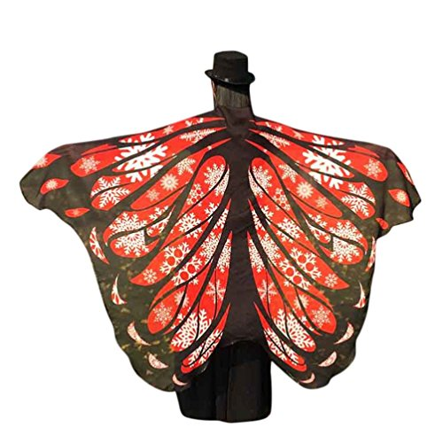 Hemlock Butterfly Wings Shawl Chiffon Fairy Cape Wrap Scarf Halloween Party Shawl Costume Accessory (Red)
