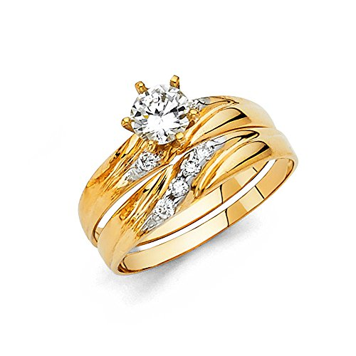 Ladies 14k Yellow Gold Engagement Ring and Wedding Bnad Bridal Set - Size 8