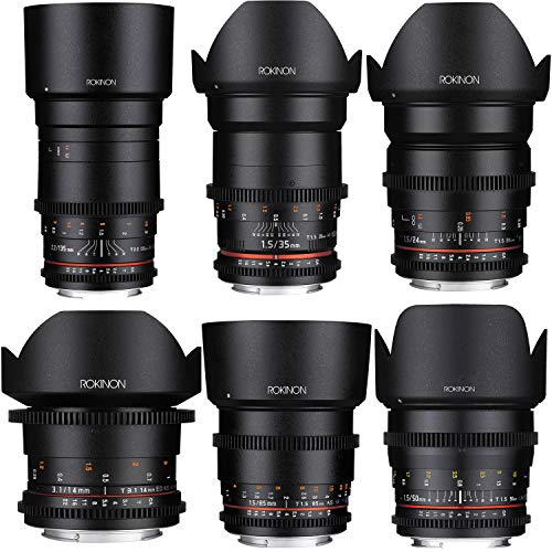 Rokinon 14mm T3.1 + 24mm, 35mm, 50mm, 85mm T1.5 and 135mm T2.2 Cine DS Lens Bundle for Nikon F Mount Full Frame Cameras