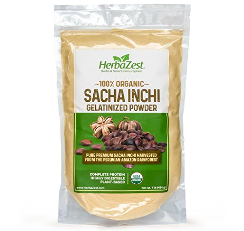 Sacha Inchi Protein Powder Organic - Vegan & USDA Certified - Gluten Free - 16oz (454g) - Perfect for Smoothies, Juices, Baking, Yogurt, Cereal & Savory dishes