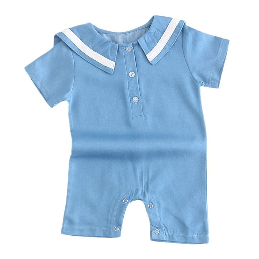 Lanhui Newborn Baby Girl Boy Outfits Short Sleeve Sailor Collar Striped Romper Clothes