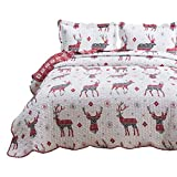 Bedsure Christmas Quilt Set King Size (106x96 inches) - Reindeer Printed Pattern - Soft Microfiber Lightweight Coverlet Bedspread for All Season - 3-Piece Bedding (1 Quilt + 2 Pillow Shams)