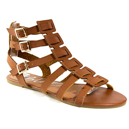Blue Womens Balreg-H Strappy Flat Gladiator Buckled Sandals Tan Size - H And Nyc M Kids